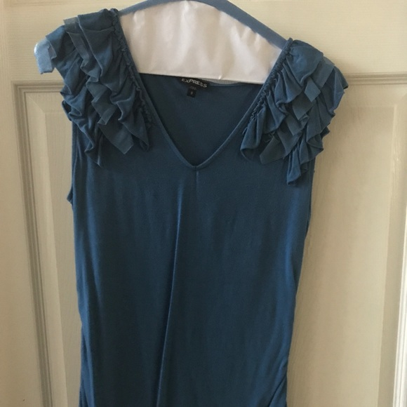 Express Tops - Blue Express ruffle sleeve blouse size small